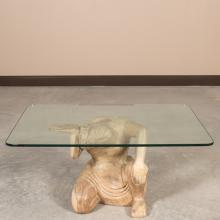 Carved Figural Wood and Glass Table