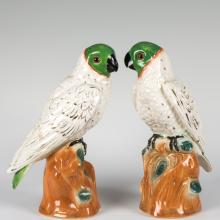 Pair Large Staffordshire Parrots