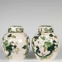 Pair Masons Ironstone Chartreuse Ginger Jars