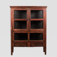 Primitive Style Display Cabinet in Red Paint