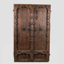Medieval Style Carved Door with Iron Decoration