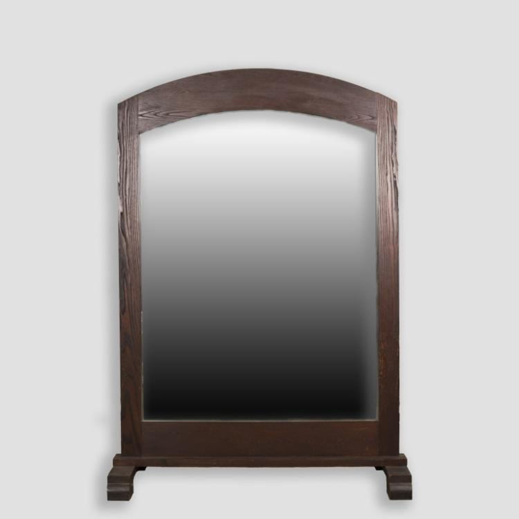 Large Free Standing Oak Mission Style Mirror