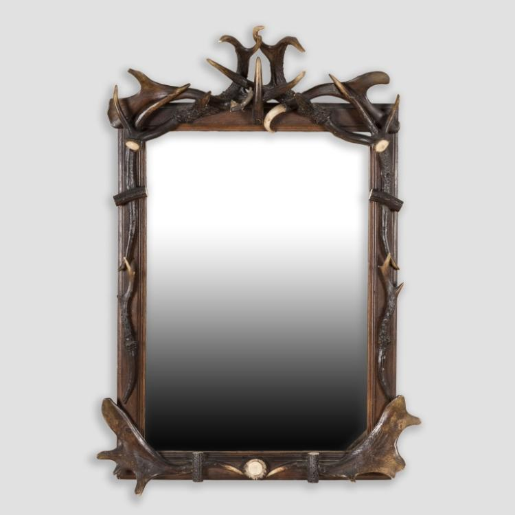 Horn and Antler Framed Mirror