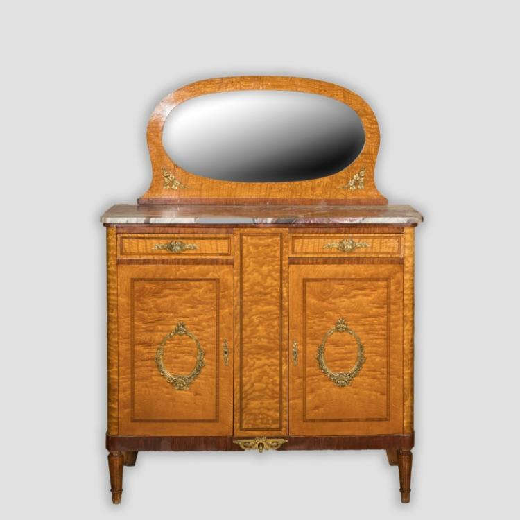 French Satinwood Sideboard with Mirror