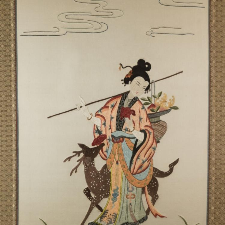Japanese Silk Embroidery And Two Paintings On Silk