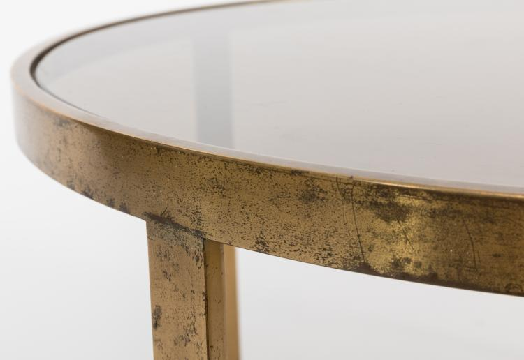 Solid Brass And Smoked Glass Coffee Table