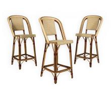 Three Maison Drucker Rattan Stools