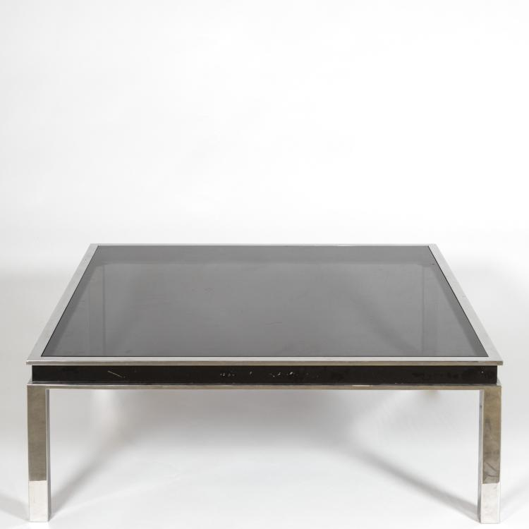 Large Modern Chrome And Black Glass Coffee Table