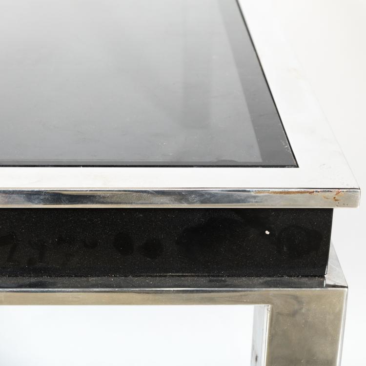 Large modern chrome and black glass coffee table for Large black glass coffee table