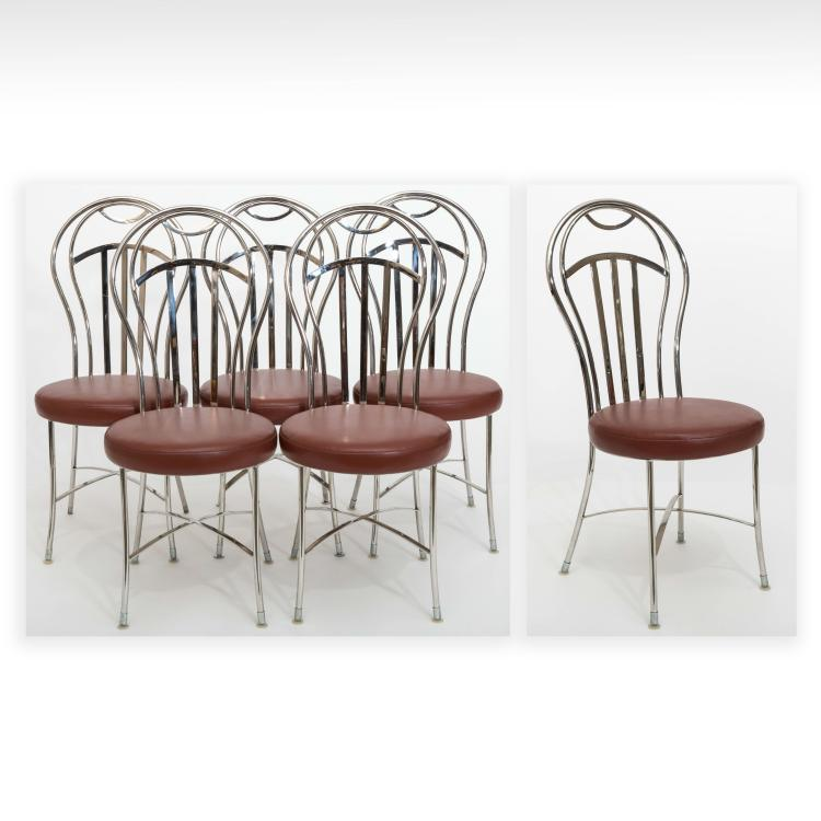 six ice cream style chrome dining room chairs vinnie leather side chair white chrome dining chairs
