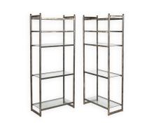 Two Brushed Steel and Glass Etageres