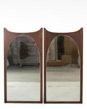 Pair Mid Century Teak Mirrors