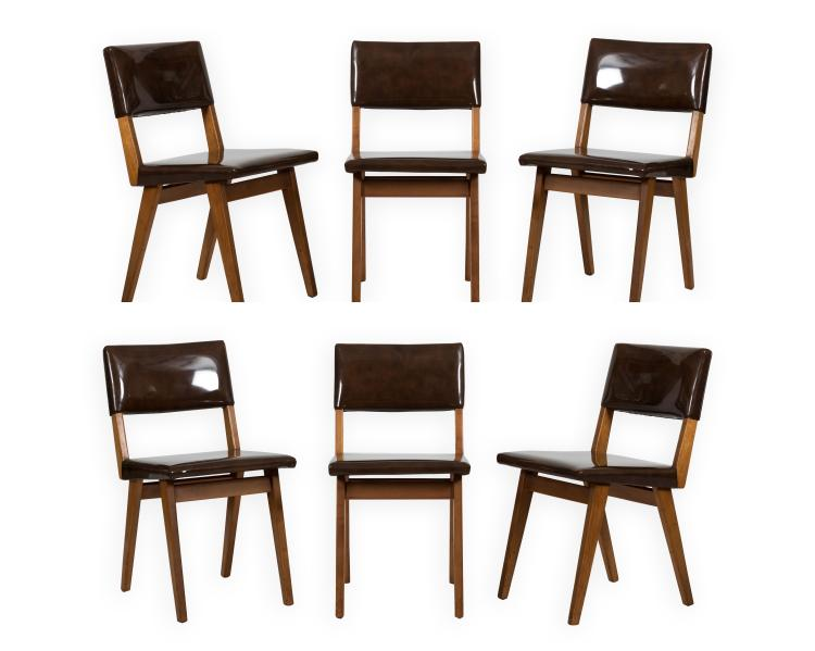 Six jens risom attributed chairs for Furniture auctions uk