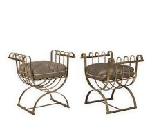 Pair Gilt Iron Rolled Arm Benches