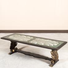Hollywood Regency Reverse Painted Coffee Table