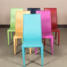 Six Cattelan Italia Leather Wrapped Dining Chairs