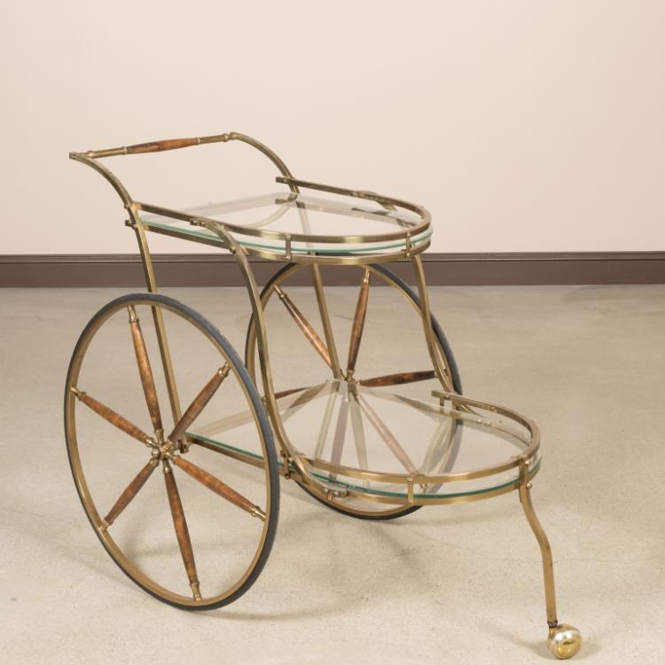 Brass, Wood and Glass Two Tier Serving Cart