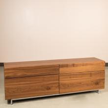 Modern Walnut Double Dresser on Chrome Legs