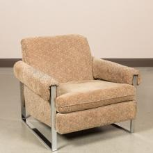 Milo Baughman Style Chrome Arm Chair