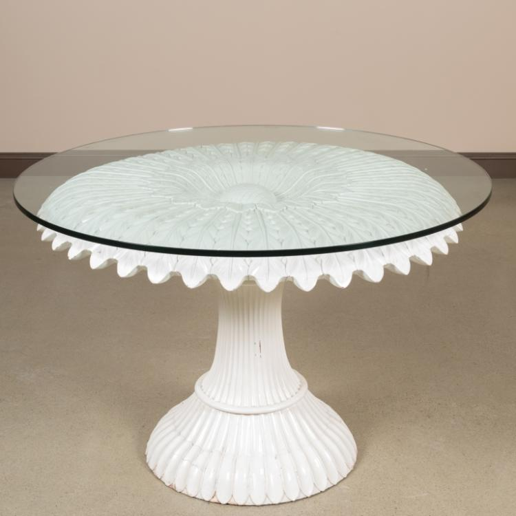 Carved Lacquer Painted Sunflower Center Table