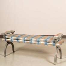 Hollywood Regency Upholstered Aluminum Bench