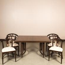 Walnut Dining Room Table with Six Chairs