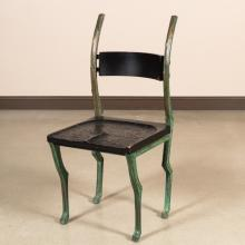 Unusual Bronze Chair with Wooden Seat