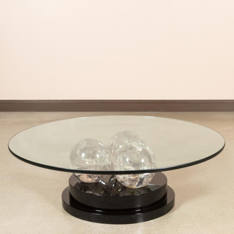 Black Lacquer and Lucite Glass Top Cocktail Table