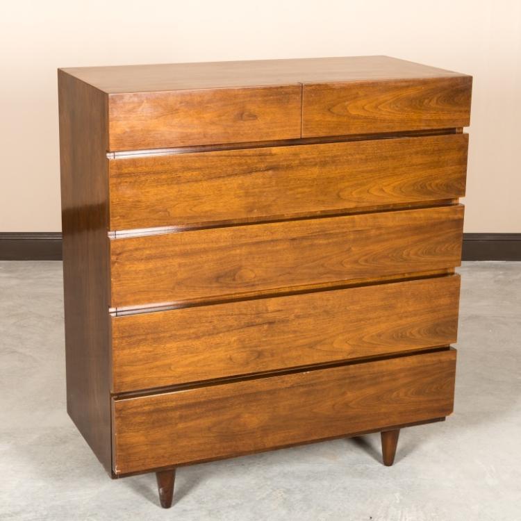 American Martinsville Walnut Highboy Dresser