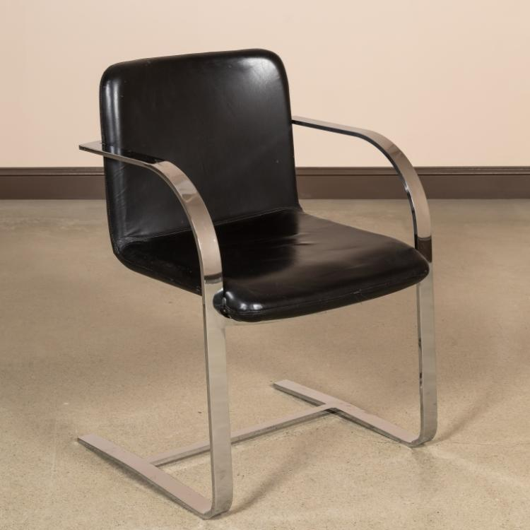 Chrome and Leather Cantilever Chair