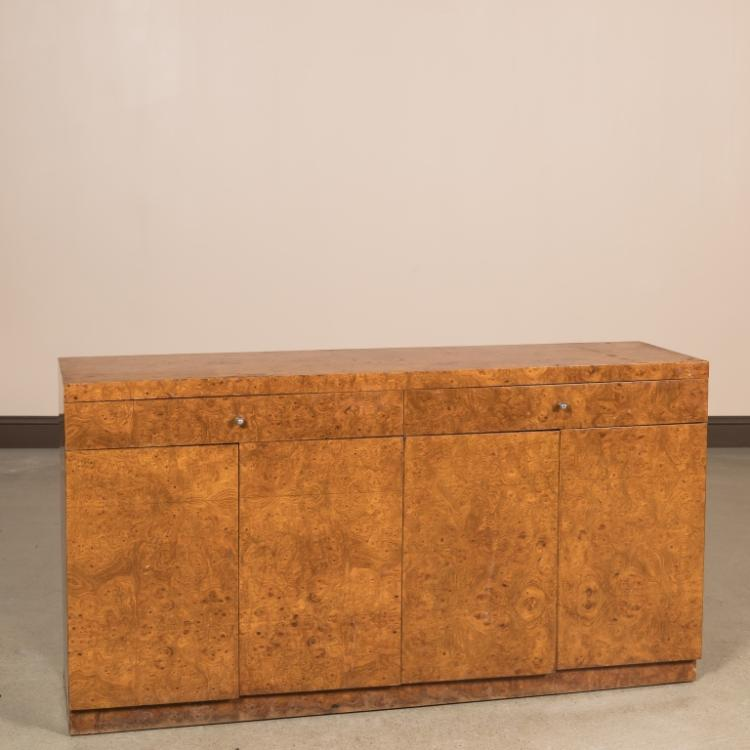 Burled Walnut Modern Credenza with Chrome Pulls