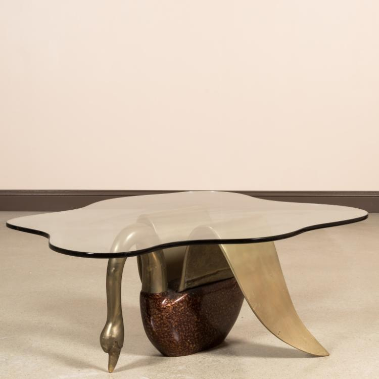 Figural Brass and Glass Swan Coffee Table