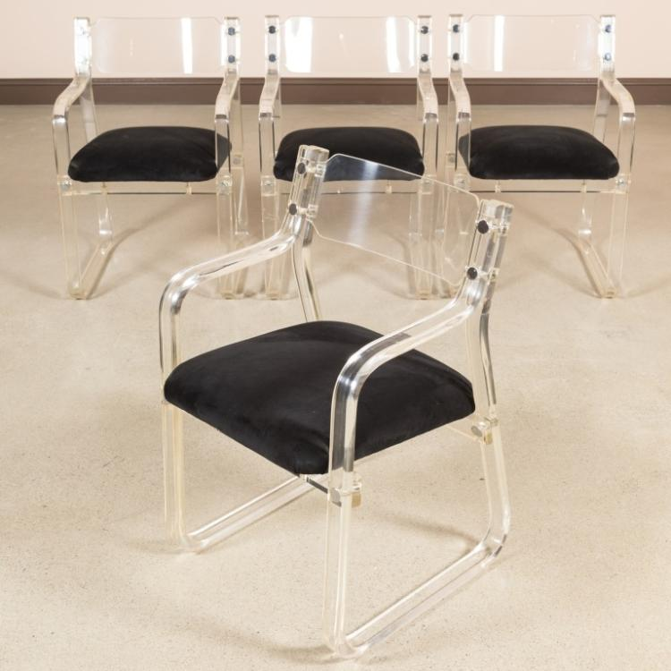 Four Lucite Armchairs - Velvet and Brass Detail