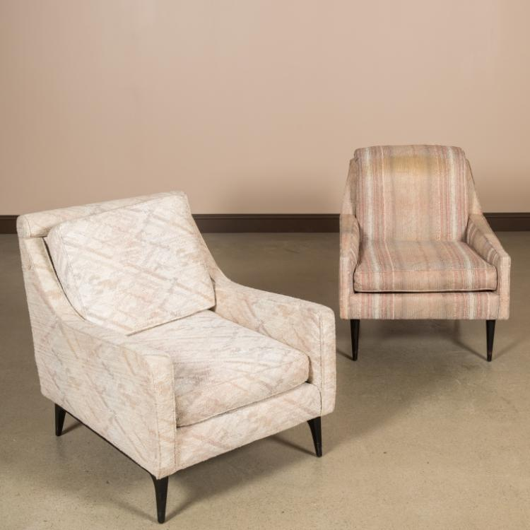 Two modern mid century living room chairs for Mid century modern living room chairs