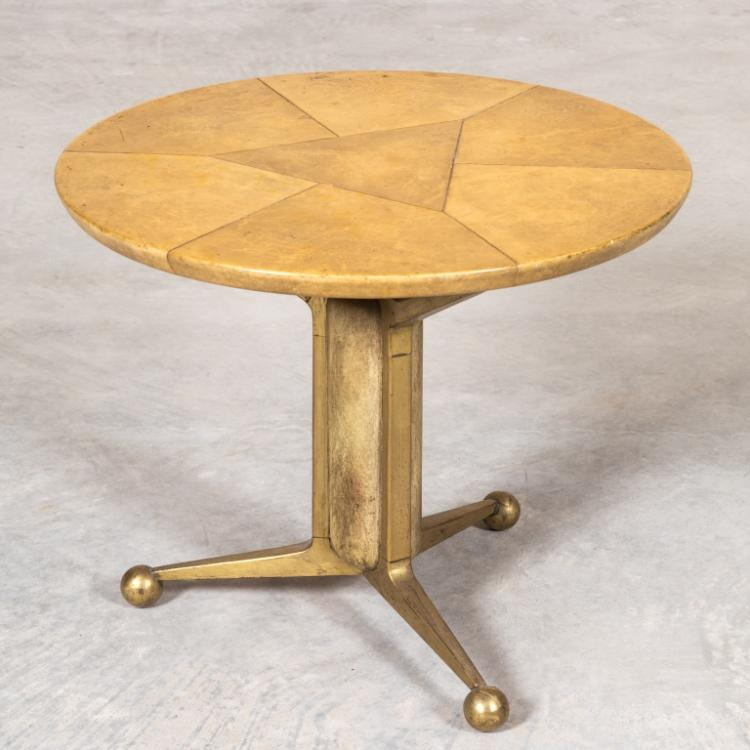 Bronze and Faux Skin Modern Tripod End Table