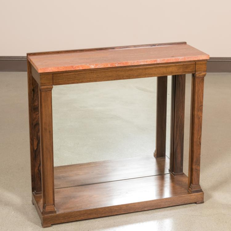 Dunbar Rosewood Marble Top Pier Table