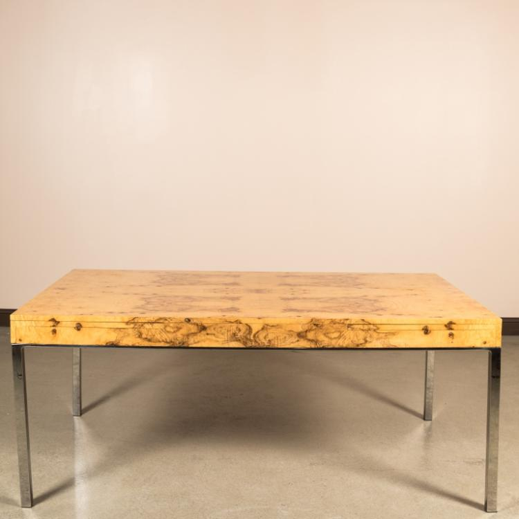 Burled Ash and Chrome Dining Table - Milo Baughman