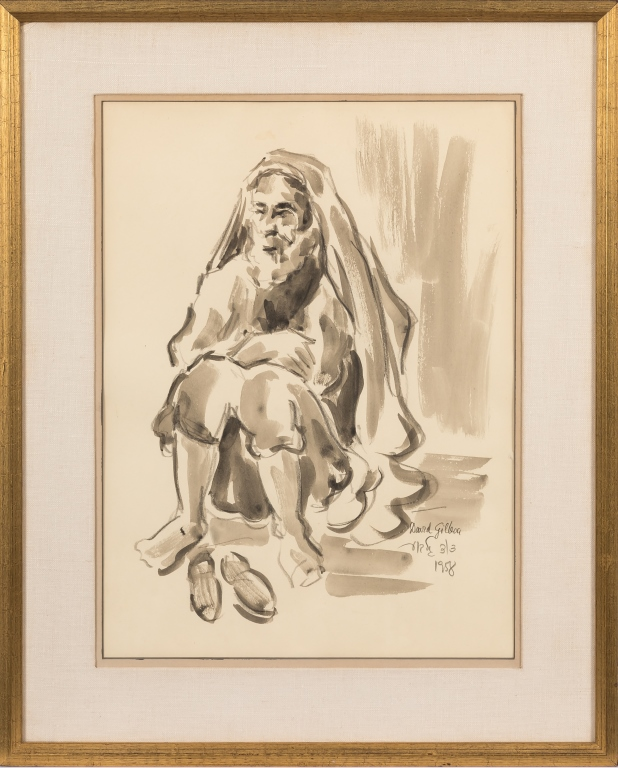 David Gilboa (1901-1976) - Watercolor of a Rabbi