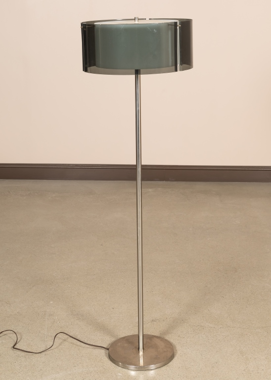 Chrome Floor Lamp with Lucite Shade