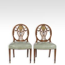 Pair Adams Painted Inlaid Chairs with Cherubs