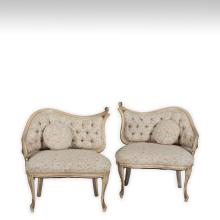 Pair French Provincial Corner Parlor Chairs