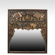 Chinese Giltwood Scenic Figural Mirror