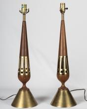 Pair Walnut and Brass Table Lamps