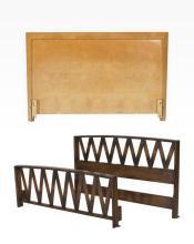 Paul Frankl Bed and Birds Eye Maple Headboard