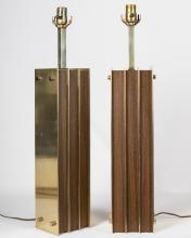 Pair Teak and Brass Table Lamps
