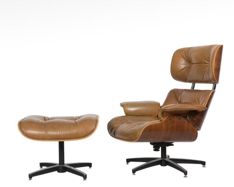 Selig eames style chair and ottoman signed - Selig eames chair ...
