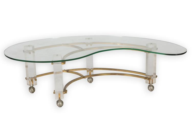 Lucite Brass Glass Kidney Shaped Coffee Table