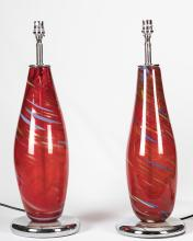 Pair Chrome and Art Glass Table Lamps