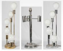 Chrome & Brass Five Light Lamp and 3 Light Lamp