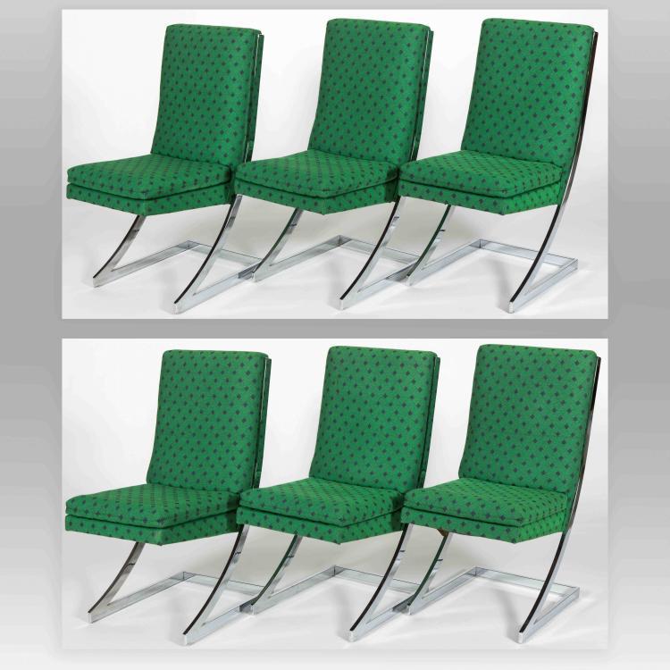 six dia chrome dining room chairs